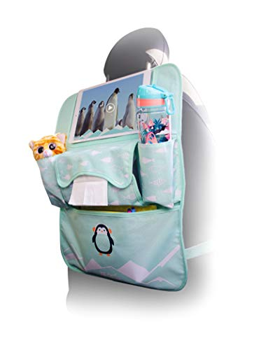 Planet Buddies Rückenlehnenschutz mit Tablet-Halter bis zu 10,2 Zoll, Autozubehör für Kinder, Autositz Organizer für Spielzeug, Tablets, Flaschen, Taschentuchbox-Halterung, Pepper Pinguin
