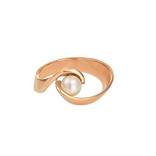 Heideman Ring Damen Ostrea aus Edelstahl Silber farbend matt, Gold oder Rosegold farbend Damenring für Frauen mit echter Süßwasser Perle Weiss rund Weiss Gr.62 hr444-8-11-62