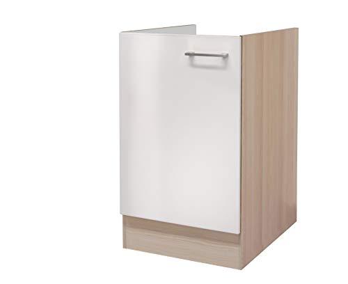 MMR Küchen-Spülenschrank DERRY - Spülenunterschrank - ohne Arbeitsplatte - 1-türig - Breite 50 cm - Perlmutt Weiß