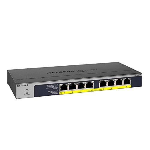 Netgear GS108PP 8-Port Gigabit Ethernet LAN PoE Switch Unmanaged (mit 8x PoE+ 123W erweiterbar, Desktop- oder Rack-Montage mit ProSAFE Lifetime-Garantie)