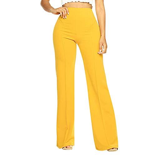 N\P Señoras de cintura alta color sólido pantalones flojos pantalones que fluyen pantalones que fluyen pantalones señoras