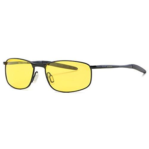 kimorn Polarizado Gafas de sol Hombre Retro Rectangulares metal Marco K0535 (Negro&Amarillo)