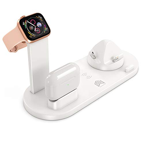 Supporto Caricabatterie Wireless 4 in 1, Caricatore Stand per Apple Watch 5/4/3/2, Qi Wireless Docking Station per Airpods iPhone 11/XS MAX/XR/X/8 Plus/8, Samsung Galaxy e Tutti Qi-enabled Telefoni