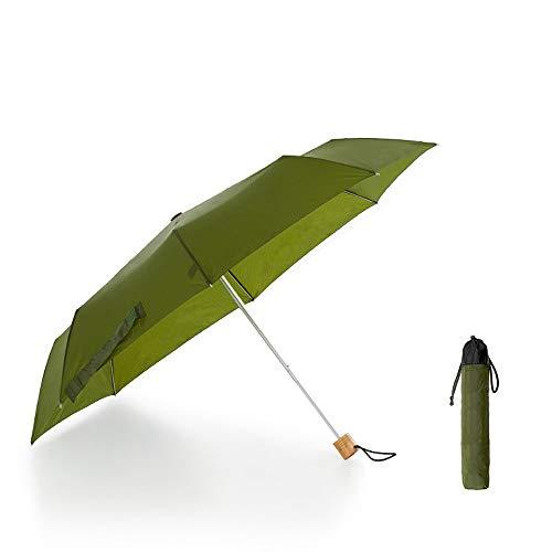 Paraguas Paraguas Plegable Secador rápido Repelente al Agua 8 Huesos Resistente al Viento Ligero Lluvia Combinado Corte UV Durable (Color : Verde, Size : One Size)
