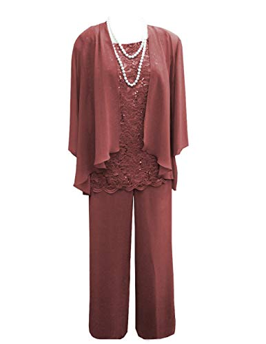 Women's 3 Pieces Lace Chiffon Mother of Bride Dress Pant Suits with Jacket Outfit for Wedding Groom(US 16 Plus, Russet)