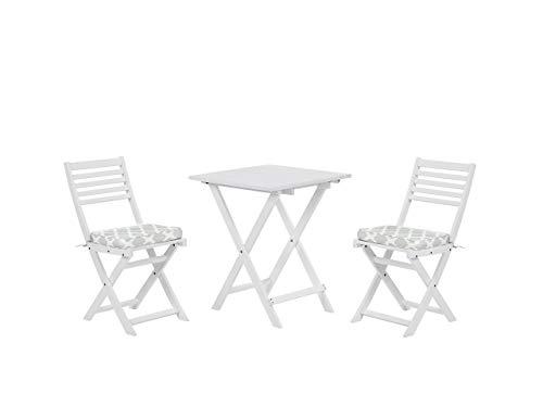 Beliani Outdoor Patio Garden Furniture Bistro Set Wood White Mint Green Cushions Fiji