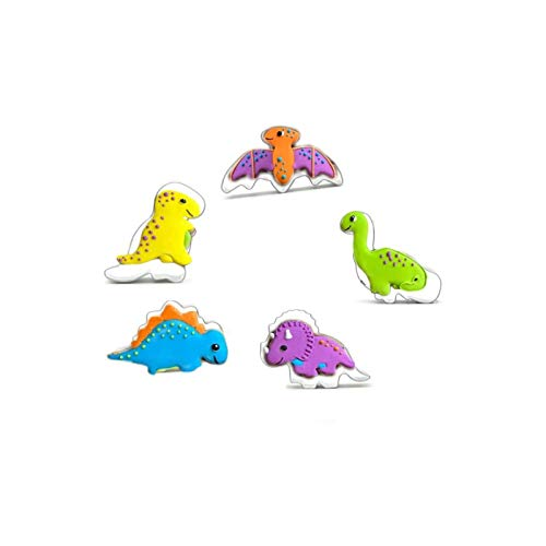 Cookie Cutters Set of 5 pcs Mini Dinosaurs Molds Stainless Steel Cookie Cutting Mold Cartoon Baking Mold Fondant Tool Pastry Biscuit Cake Baking Mould Funny DIY Mold for Kids
