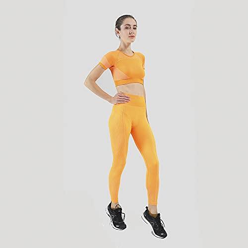 Shorts Pantalones Cortos Mujer Conjunto Deportivo Sin Costuras Para Mujer, Dos 2 Piezas, Camiseta Corta, Pantalones Cortos Deportivos, Yoga, Traje Deportivo, Entrenamiento, Atuendo Activo, Conjun