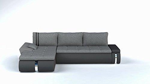Ecksofa FADO MINI mit Schlaffunktion Sofa Couch Schlafsofa Polsterecke Bettfunktion (kunstleder schwarz / stoff INARI 96) (ottomane links, kunstleder weiß / stoff INARI 96)