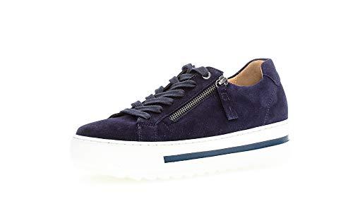 Gabor Damen Sneaker, Frauen Low-Top Sneaker,Comfort-Mehrweite,Reißverschluss,Optifit- Wechselfußbett, Woman Halbschuhe leger,Bluette,38 EU / 5 UK