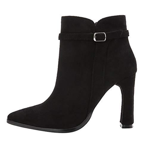NMERWT Damenschuhe Blockabsatz High Heels Ankle Boots Stiefeletten Kurzstiefel Plateau Damen Freizeit Fashion Solid Spitz Dünne High Heel Stiefel Schuhe
