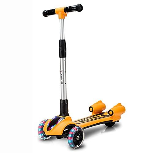 DODOBD Patinete para Niños Scooter Plegable con Altura Ajustable de 3 Niveles y Música Luces y Nebulizador de Agua Regalo para Niños 2 a 8 años, Carga Máxima de 50 kg