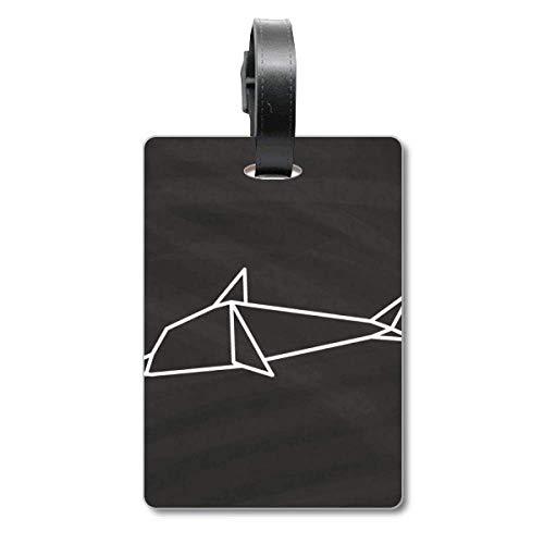 Abstract Origami Dolphin - Etiqueta de identificación para Maleta, diseño geométrico