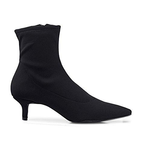 Another A Damen Damen Trend-Stiefelette, Stiefel in Schwarz mit Pfennig-Absatz Schwarz Synthetik 39