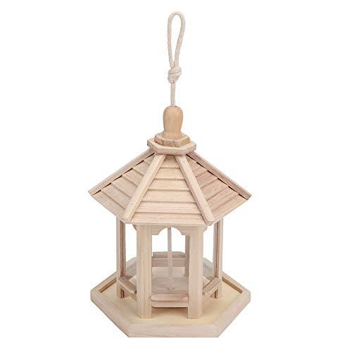 DAUERHAFT Alimentador de pájaros de Madera, Mesa Hexagonal para pájaros, jardín Colgante, alimentador de pájaros Salvajes, estación de alimentación para decoración de jardín