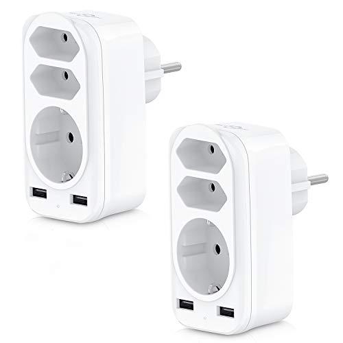 Steckdosenadapter 2 Pack, KEPLUG USB Steckdose, 3 Steckdosen ( 4000W ) und 2 USB Anschluss ( 2.4A ), mehrfachsteckdose für Hause, Reise, Büro