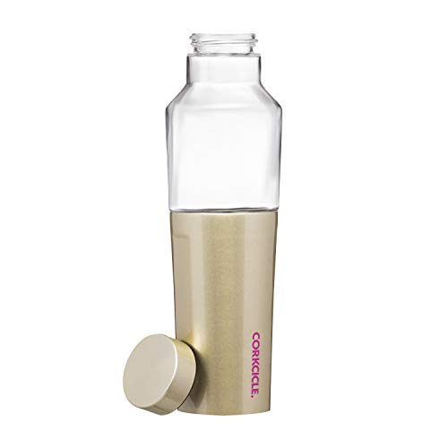 Corkcicle 20oz Hybrid Canteen - Glass Water Bottle With An Insulated Stainless Steel Twist - Glampagne
