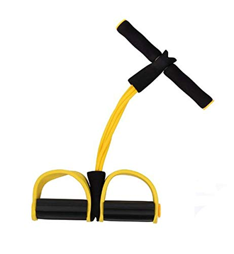Pedal Resistance Band, ReachTop Leg Exerciser Elastic Training Pull Rope Sit-up Training Foot Chest Resistance Equipment for Yoga Stretching Slimming Training for Home Gym, Yellow