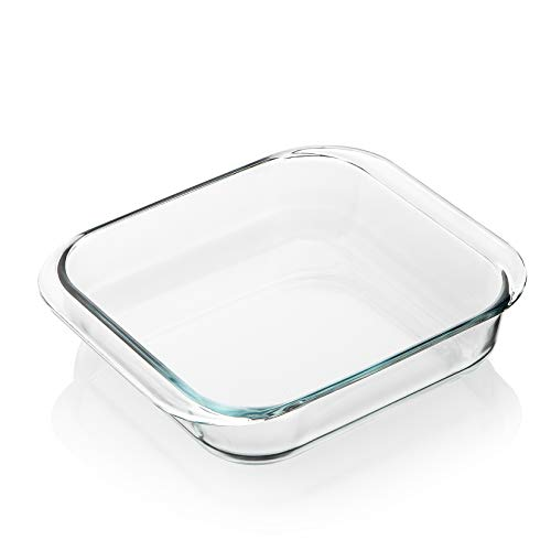 SWEEJAR Glass Bakeware, Rectangular Baking Dish Lasagna Pans for Cooking, Kitchen, Cake Dinner, Banquet and Daily Use, 8.4 x 8.4 x 1.9 Inches of Baking Pans