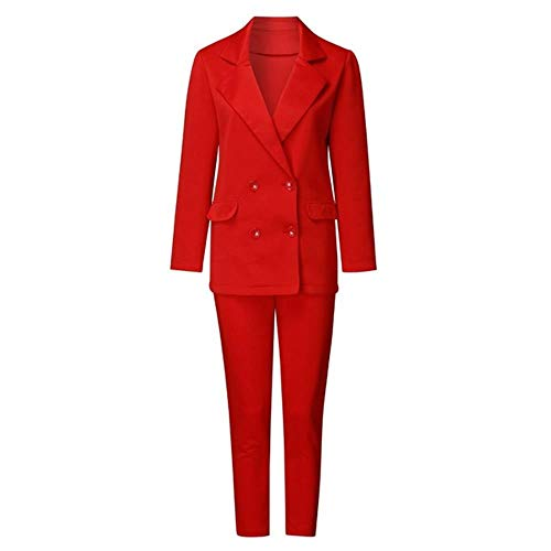 HKRT Blazer doble pecho con muescas cuello de oficina chaqueta de bolsillo de manga larga traje Rojo rosso L