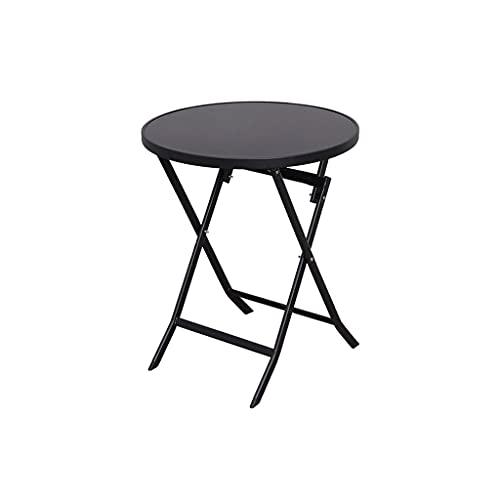 Mesa plegable portátil al aire libre Mesa de patio al aire libre, mesa redonda con marco Tabla de cristal templado Mesa de fiesta para exteriores Mesa de fiesta para el césped del patio trasero Balcon