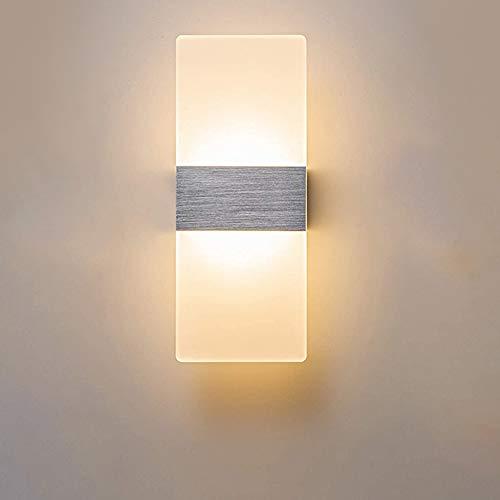ERWEY 6W LED Wandleuchte Acryl Wandlampe Warmweiß Design Nachttischlampe Dekorative Beleuchtung für Schlafzimmer Treppe Flur und Eingang (6W 29x11cm Warmweiß)