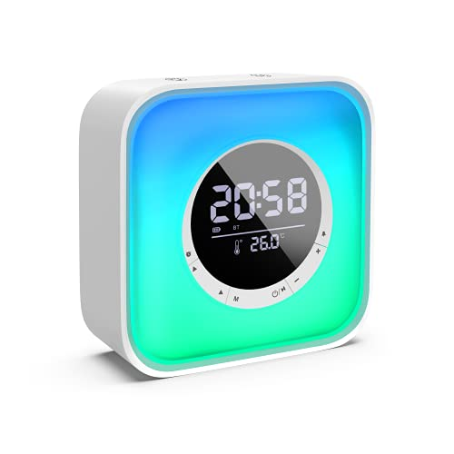 Night Light Bluetooth Speaker with Digital Alarm Clock FM Radio, 10 Colors Changing LED Bedside Lamp and Temperature Display, Rechargeable Wireless Speaker with Touch Control and USB Port