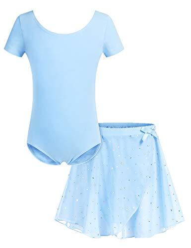 Bricnat Mädchen Ballettkleidung Ballettkleid Tanzbody Gymnastikanzug Balletttrikot Kurzarm Tanzkleid mit Tütü Kinder Baumwolle Hellblau 140