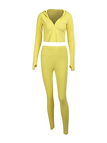 Conjunto de 2 piezas de traje de entrenamiento para mujer de color sólido manga larga con cremallera completa y leggings de cintura alta (amarillo, grande)
