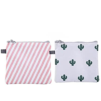 2PCS Sanitary Napkins Bag Zippered Tampons Collect Bags Pouch Organizer Waterproof Napkins Nursing Pad Holder for Women and Girls Stripe Cactus Style