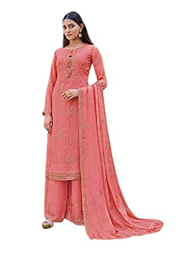 India Punjabi Mujer Brillante Rosa listo para usar Chinnon Musulmán Partido eid Salwar kameez Plazzo Traje 6524, Como se muestra, XXL