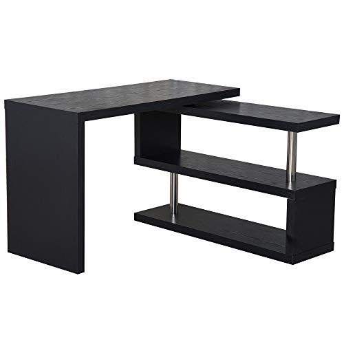 HOMCOM Computertisch Eckschreibtisch Winkelschreibtisch Schreibtisch Bürotisch PC Tisch Schwarz Holzoptik