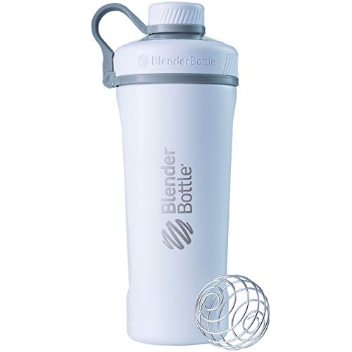 BlenderBottle Radian Shaker Cup Insulated Stainless Steel Water Bottle with Wire Whisk, 26-Ounce, Matte White