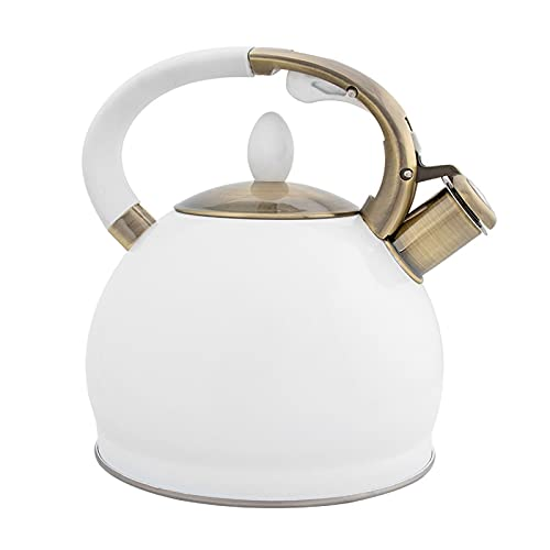 Camping Coffee & Tea Pots, 3L Large Stainless Steel Teapot, Ergonomic Electroplated Bronze Handle, Whistle Tea Kettle for Stove Top (Color : White)