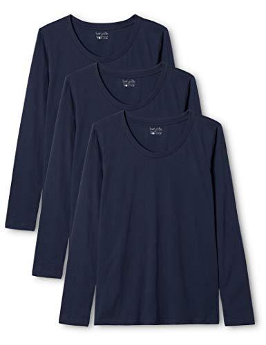 Berydale Camiseta de manga larga de mujer con cuello redondo, pack de 3, Navy, S