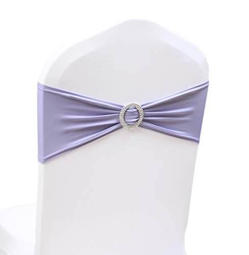 50PCS Spandex Chair Sashes Bows Elastic Chair Bands with Buckle Slider Sashes Bows for Wedding Decorations (50PCS, Lavender)