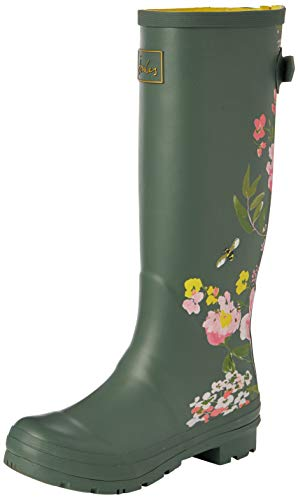 Joules Women's Wellington Welly Boot, Green Floral, 8 us