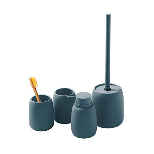 LUX LOVE LIFE LUXURY Ceramic Bathroom Accessories Set | Bath Set Collection | 4 Pc Set Includes Soap Dispenser, Toothbrush Tumbler, Tumbler & Toilet Brush Holder | Teal Blue Color