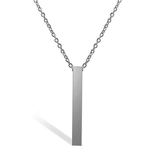 JewelryWe Schmuck Edelstahl Poliert Stereo-Rechteck Quader Anhänger Halskette mit 20 Zoll Kette für Herren Damen, Silber