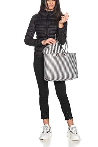 Guess Einkaufstasche Uptown Chic für Damen, gestreift, Weiß / Schwarz, Mehrfarbig Einheitsgröße