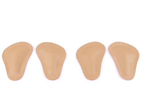 biped 2pares de almohadillas ortopédicas para pie plano anterior de cuero en forma de T - apoyo retrocapital - para adherir a zapatos y sandalias z1780(39-40)