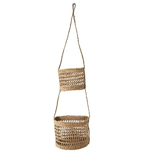 2-Tier Woven Wall Hanging Baskets For Storage and Plant Pot Holder, Natural Seagrass Willow Wicker Fruit Bread Storage and Wall Basket Hanging Planters Flower Pot Container for Home Garden (Half Moon)