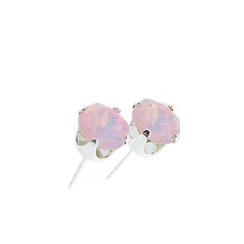 pewterhooter women's 925 Sterling silver stud earrings made with Rose Water Opal crystal from Swarovski. Gift box. Made in the UK. Hypoallergenic & Nickle Free for Sensitive Ears.