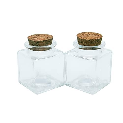 Allenzhang Mini botella de cristal cuadrada con tapón de tapón Botellas de vidrio vacías cuadradas transparentes 50 ml regalo de miel Sello de grado alimenticio de miel Frascos de frascos 6pcs