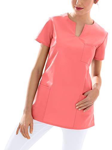 CLINIC DRESS Schlupfkasack Kasack Damen für Krankenpflege und Altenpflege 95 Grad Wäsche pfirsichrosa S