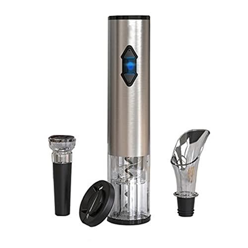 QinWenYan Abridor de Vino Eléctrico Abridores de Botellas de Vino eléctrico Set Recargable Aire de Aire automático de la presión de Aire para Cocina (Color : Silver, Size : 22.4x4.6cm)