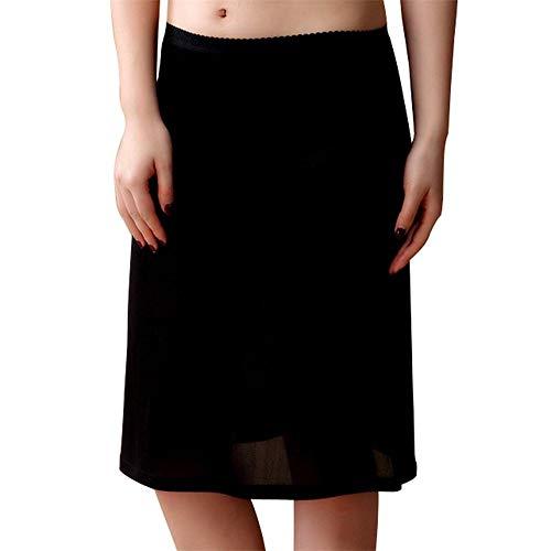 Idealady Damen 100% Seide Kurz Unterrock Basic nachtwäsche für Kleid (M, Schwarz)