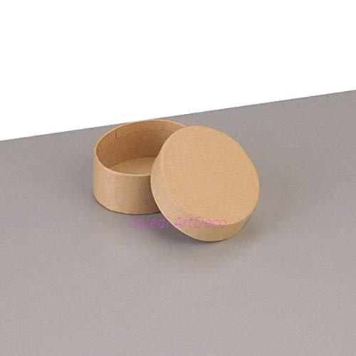 Lealoo kleine doos, ovaal, hoog, 6,5 x 5,5 cm x hoogte 4,5 cm met deksel van karton, om te versieren