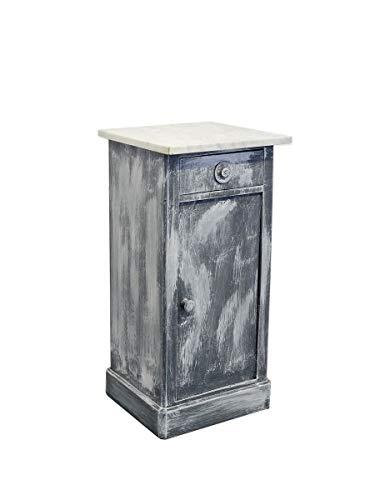Antike Nachtkonsole Nachtschrank Nachttisch Vintage grau weiß Shabby Chic (9159)