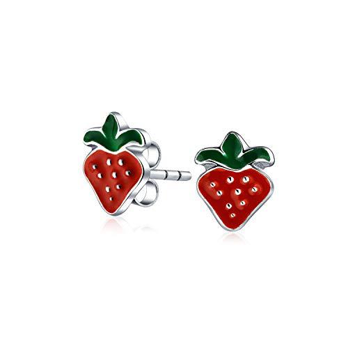 Winzige Kleine Sommerobst Rote Erdbeere Ohrstecker Für Frauen Für Teen Frauen 925 Sterling Silber
